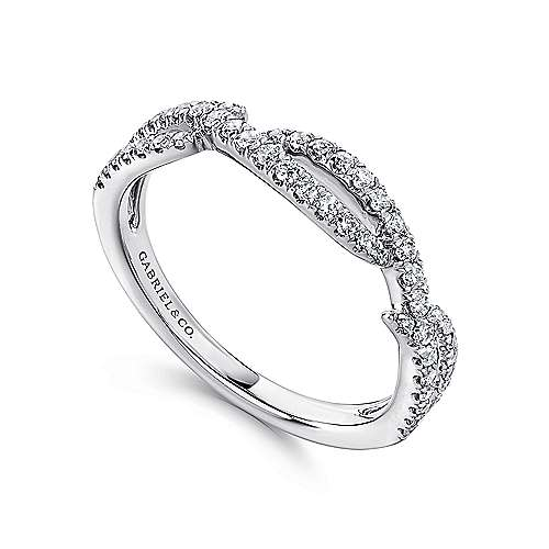 14k White Gold Stackable Ladies' Ring angle 3