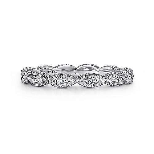 Gabriel - 14k White Gold Stackable Luminous Ladies Ring