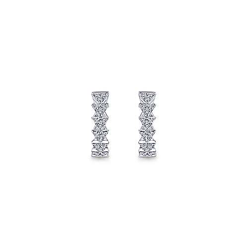 14k White Gold Stacked Triangle Diamond Huggie Earrings angle 3
