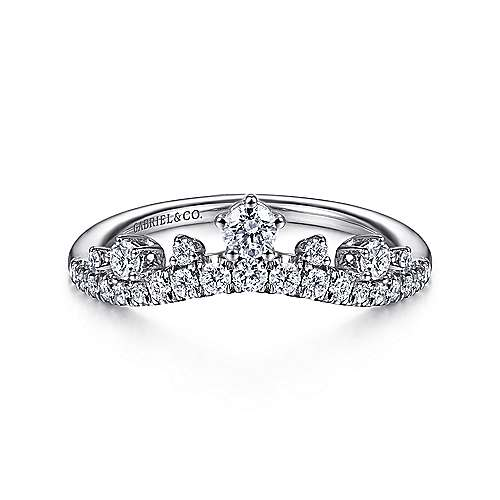 14k White Gold Starlight Curved Anniversary Band