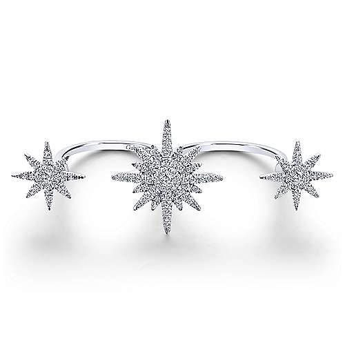 Gabriel - 14k White Gold Starlis Double Ring Ladies' Ring