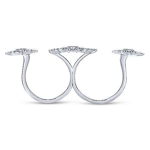 14k White Gold Starlis Double Ring Ladies' Ring angle 2