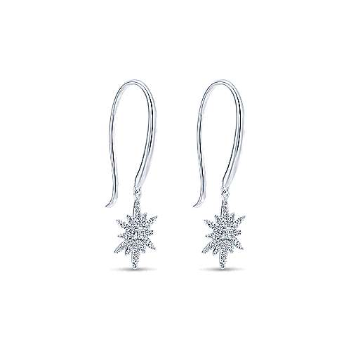 14k White Gold Starlis Drop Earrings angle 2