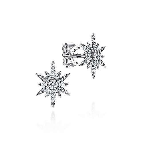 Gabriel - 14k White Gold Starlis Stud Earrings