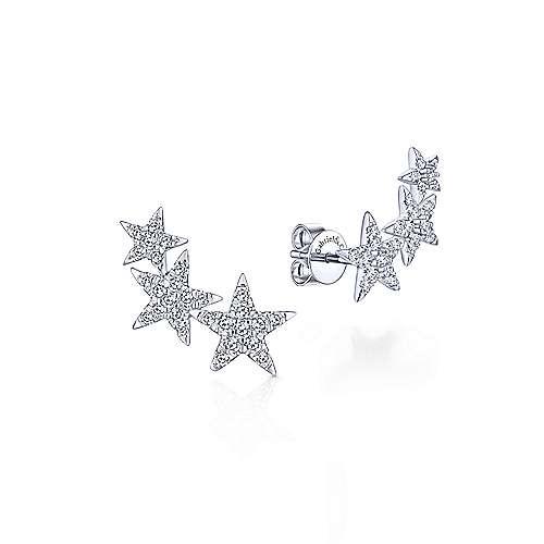 14k White Gold Starlis Stud Earrings angle 1