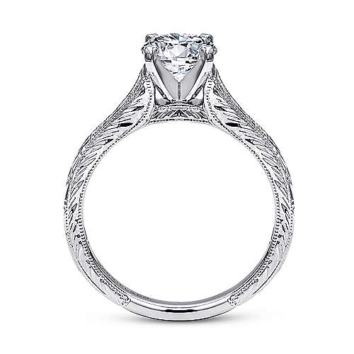14k White Gold Straight Channel and Hand CutEtching Diamond Engagement Ring angle 2