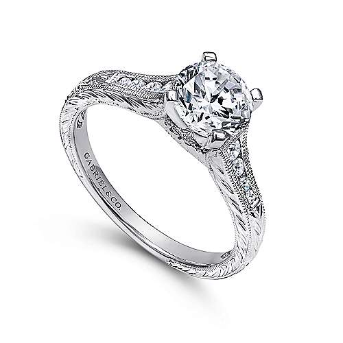 14k White Gold Straight Channel and Hand CutEtching Diamond Engagement Ring angle 3