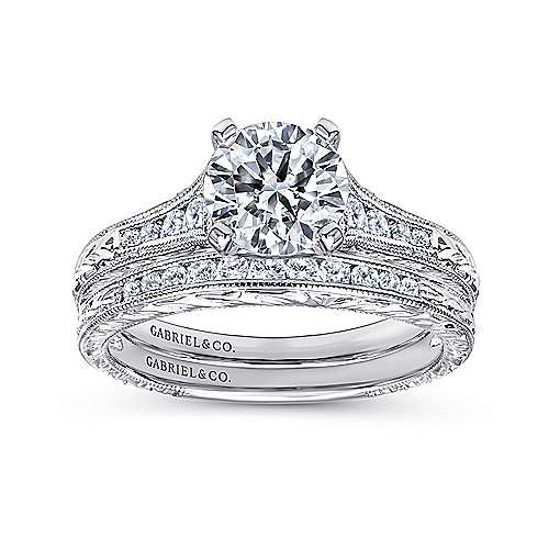 14k White Gold Straight Channel and Hand CutEtching Diamond Engagement Ring angle 4