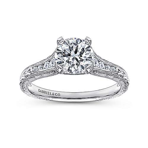 14k White Gold Straight Channel and Hand CutEtching Diamond Engagement Ring angle 5