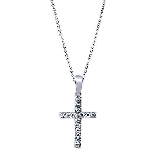 14k White Gold Straight Diamond Cross Necklace