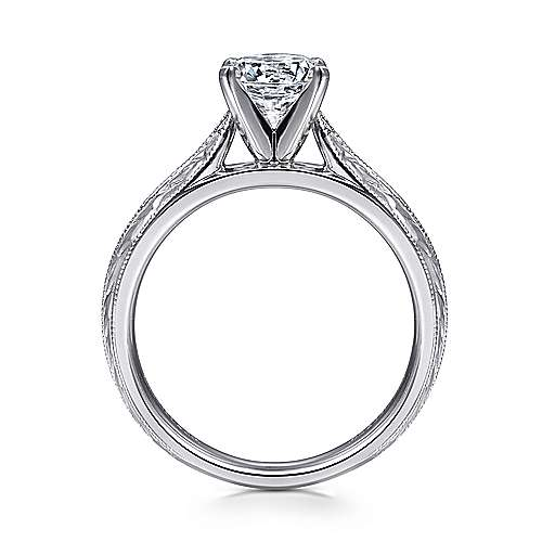 14k White Gold Straight Engagement Ring with Hand Etching and Milgrain Detailing angle 2