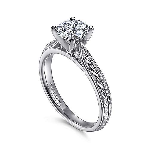 14k White Gold Straight Engagement Ring with Hand Etching and Milgrain Detailing angle 3