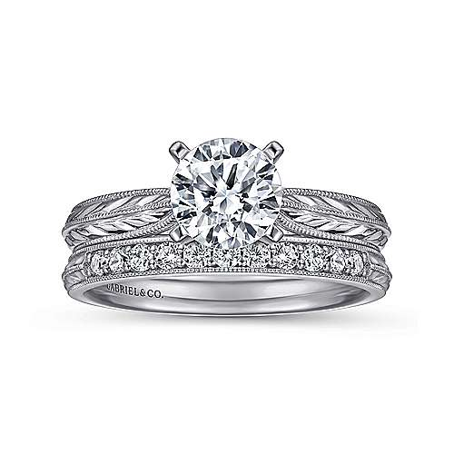14k White Gold Straight Engagement Ring with Hand Etching and Milgrain Detailing angle 4