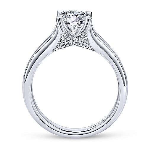 14k White Gold Straight Engagement Ring angle 2