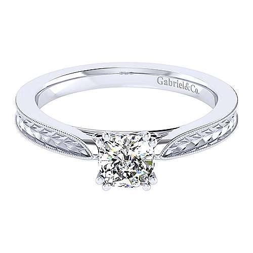 Gabriel - 14k White Gold Cushion Cut Straight Engagement Ring