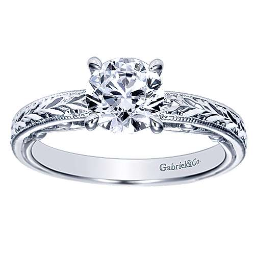 14k White Gold Straight Engagement Ring angle 5