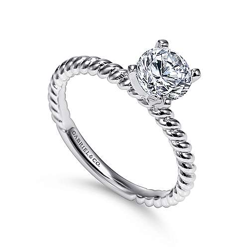 14k White Gold Straight Engagement Ring angle 3