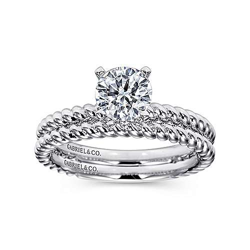 14k White Gold Straight Engagement Ring angle 4