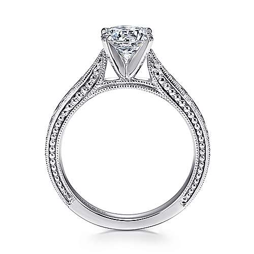14k White Gold Straight Hand Cut Etching Engagement Ring with Cathedral Setting angle 2
