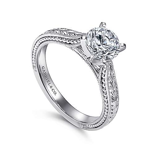 14k White Gold Straight Hand Cut Etching Engagement Ring with Cathedral Setting angle 3
