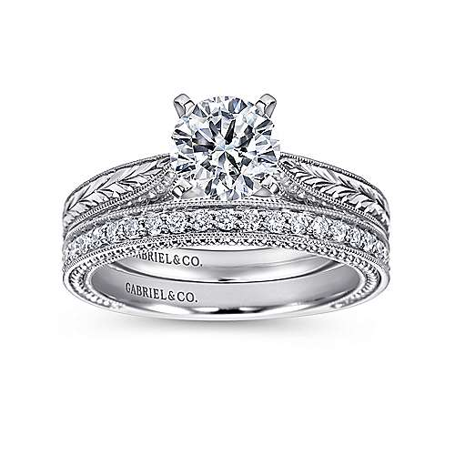14k White Gold Straight Hand Cut Etching Engagement Ring with Cathedral Setting angle 4