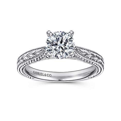 14k White Gold Straight Hand Cut Etching Engagement Ring with Cathedral Setting angle 5