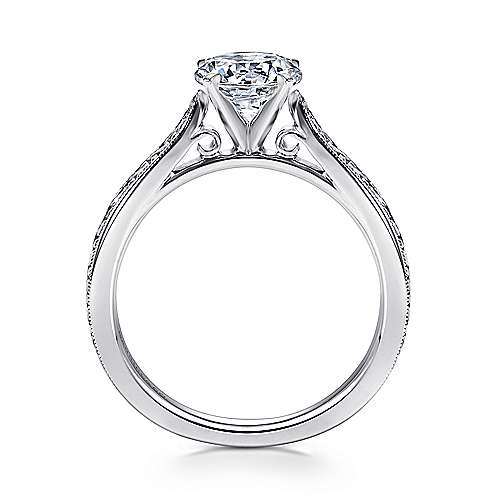 14k White Gold Straight Milgrain and Hand Etched Engagement Ring angle 2
