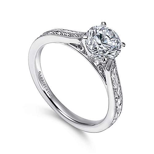 14k White Gold Straight Milgrain and Hand Etched Engagement Ring angle 3