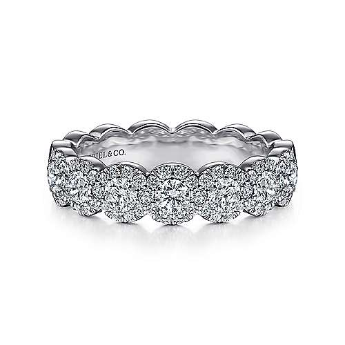 Gabriel - 14k White Gold Straight Scalloped Anniversary Band