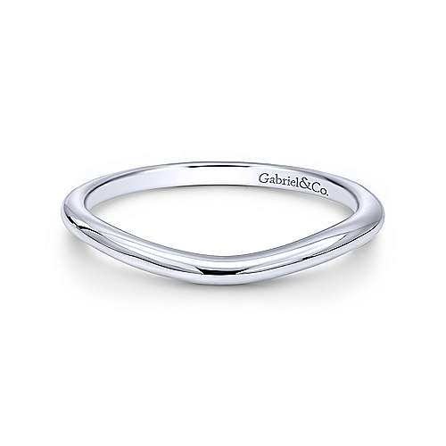14k White Gold Straight Wedding Band angle 1