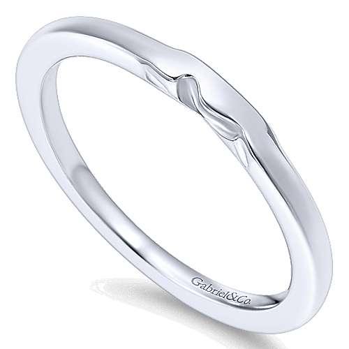 14k White Gold Straight Wedding Band angle 3