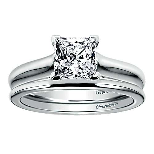 14k White Gold Straight Wedding Band angle 4