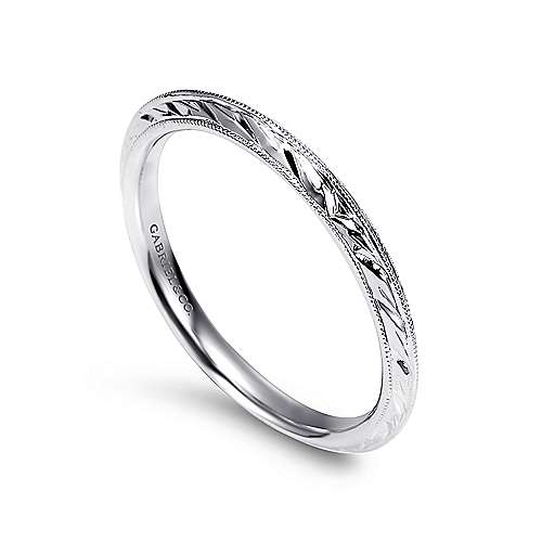 14k White Gold Straight Wedding Band angle 3