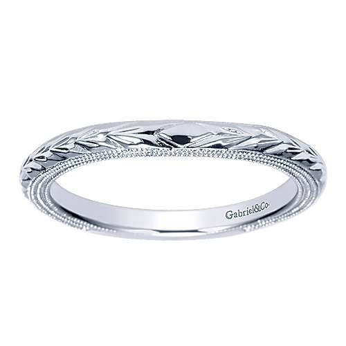 14k White Gold Straight Wedding Band angle 5