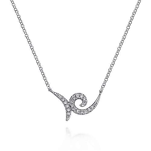 14k White Gold Swirling Pave Diamond Pendant Necklace