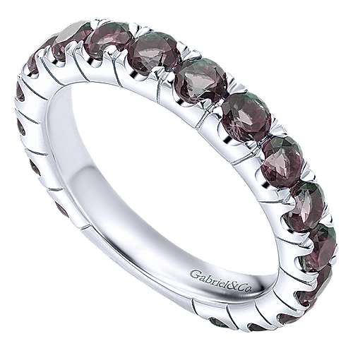 14k White Gold Synthetic Alexandrite Stackable Ladies