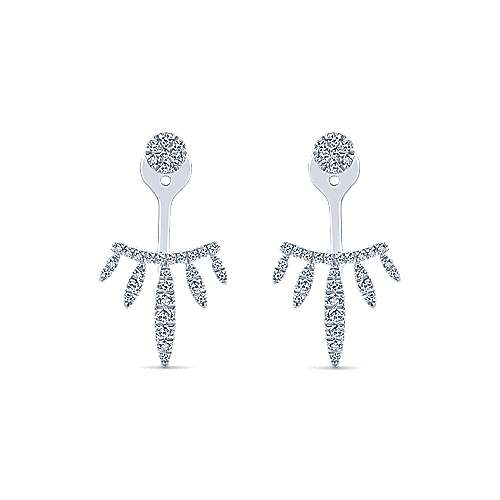 14k White Gold Tapered Threader Diamond Drop Earrings