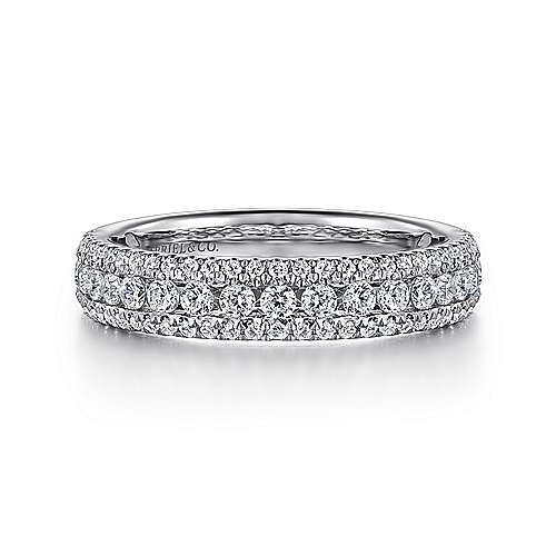 Gabriel - 14k White Gold Three Row Anniversary Band