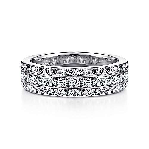 14k White Gold Three Row Anniversary Band
