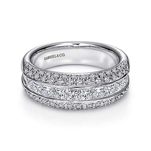 Gabriel - 14k White Gold Three Row Princess and Round Stone Anniversary Band