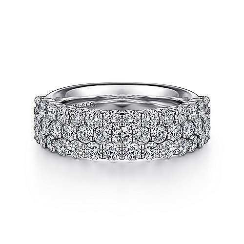 Gabriel - 14k White Gold Three Row Prong Set Anniversary Band