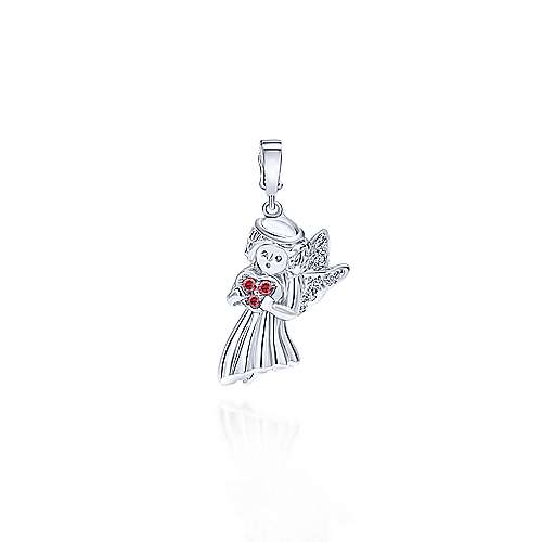 14k White Gold Treasure Chests Charm Pendant angle 1