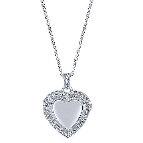 14k White Gold Treasure Chests Heart Necklace angle 1