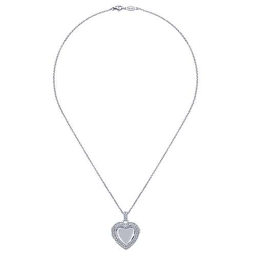 14k White Gold Treasure Chests Heart Necklace angle 2