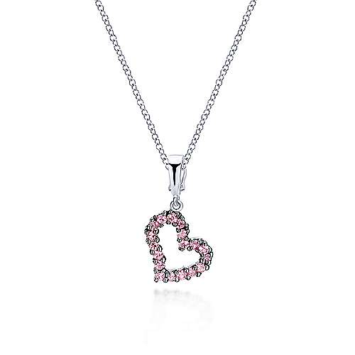 14k White Gold Treasure Chests Heart Pendant angle 3