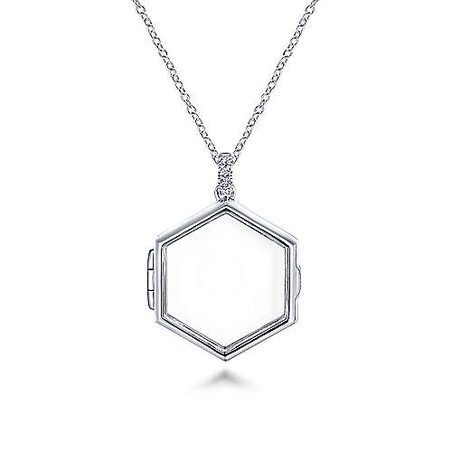 14k White Gold Treasure Chests Locket Necklace