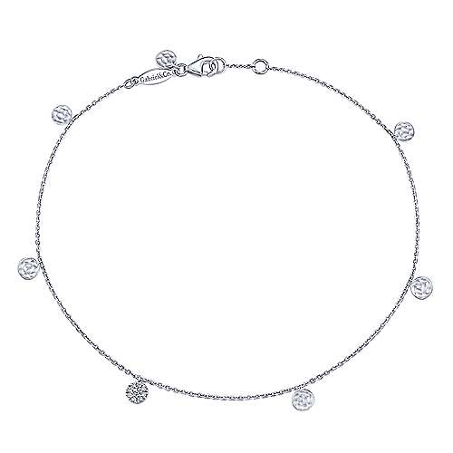 14k White Gold Trends Chain Ankle Bracelet angle 1