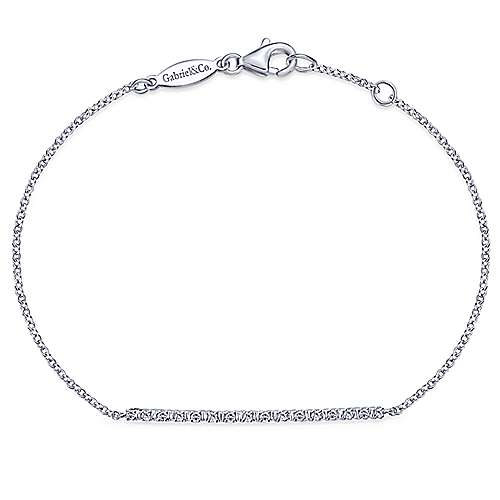 14k White Gold Trends Chain Bracelet angle 1