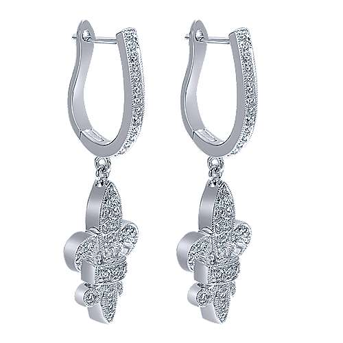 14k White Gold Trends Drop Earrings angle 2