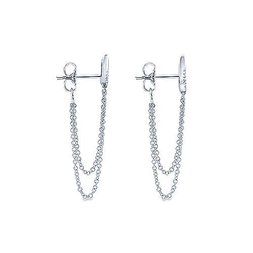 14k White Gold Trends Drop Earrings angle 3